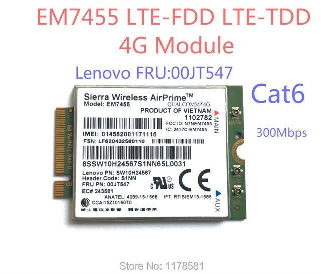 EM7455 FRU00JT547 Sierra Wireless FDD/TDD LTE Cat6 4G MODULE 4G CARD for Lenovo laptop
