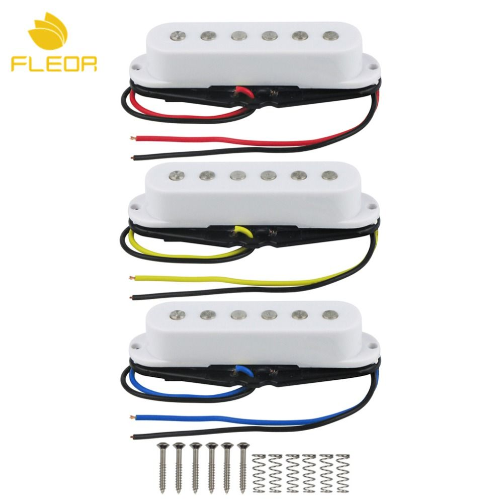 FLEOR Set of Ceramic Magnet Neck/Middle/Bridge Single Coil Guitar Pickup 50/50/52mm Flat Pole for Start Style Guitar, White