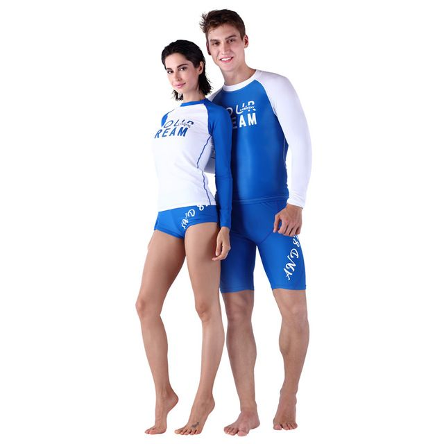 Solid Polyester Freeshipping Surfing Swimsuits Men Quick-drying Outdoor Tight-fitting Wetsuit Swimwear Long Rash Guard Women