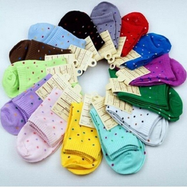 2017 Direct Selling Hot Sale Casual Calcetines Mujer Christmas Socks Autumn And Winter Female Cotton Candy Colored Dot Socks