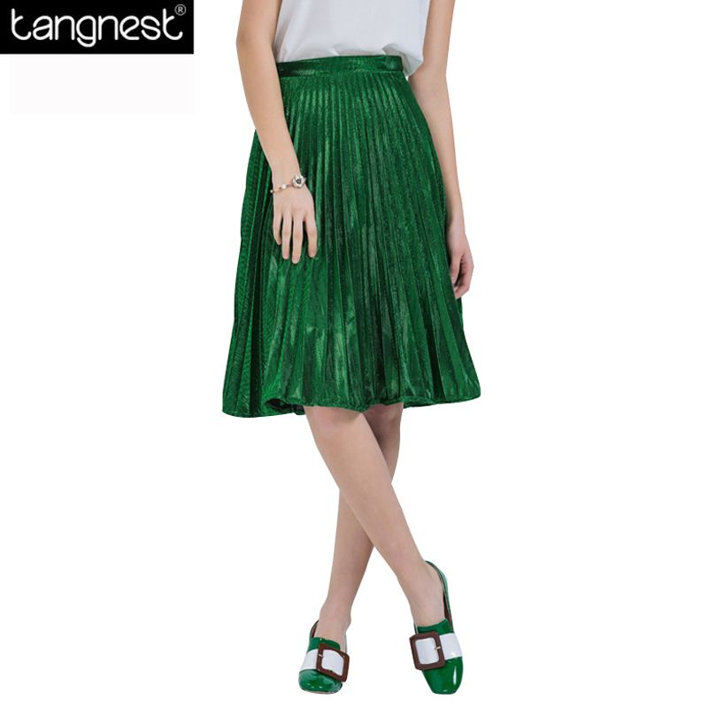 TANGNEST Fashion Metallic Colors Pleated Skirts 2017 Women Solid 3 Colors A-Line Knee-Length Skirt All Match Brand Saia WQC377