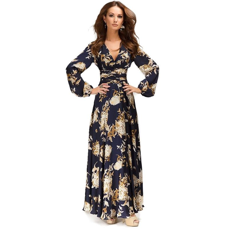 2016 New Women Autumn Spring Fashion Casual Long Sleeve V-neck Dress Women's Vintage Long Maxi Dresses Cute Vestidos S22983