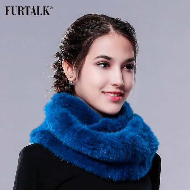FURTALK Real Mink Fur Scarf Round Towel Infinite Scarf Winter Women Mink Fur Scarf