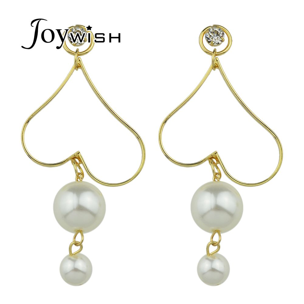 Joywish Statement Earrings Jewelry Gold-Color Heart Shape Drop Earrings With Simulated-pearl Pendant Dangle Earrings For Women