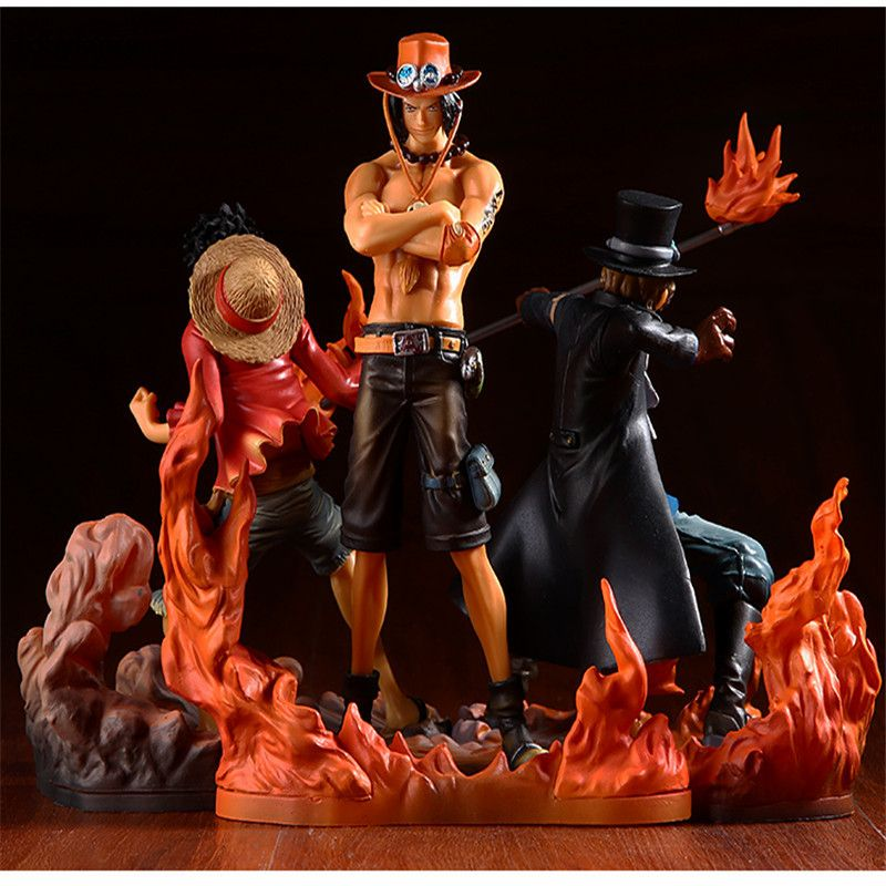 Tobyfancy One Piece Figure Japan Anime Figure Ace Luffy Sabo DXF One Piece Action Figure PVC Cartoon Figurine One Piece Toys