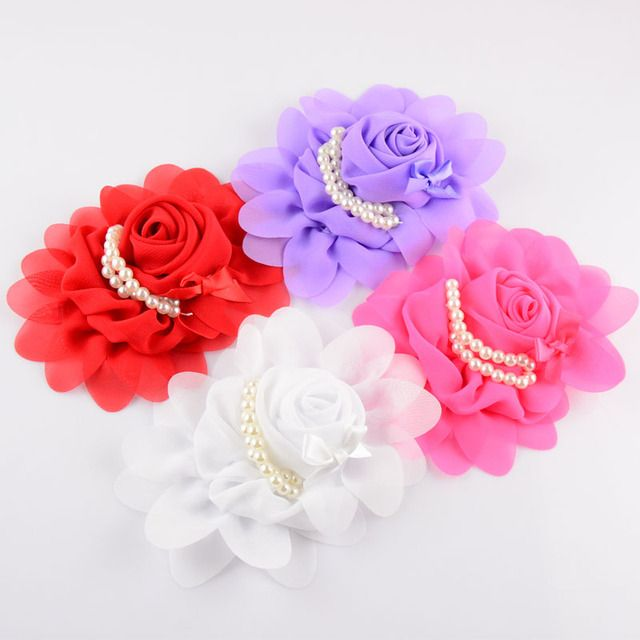 New Style 100pcs/lot 19C girls Boutique Chiffon Hair Flower With Imitation Pearls Weeding Flowers For Women TH19