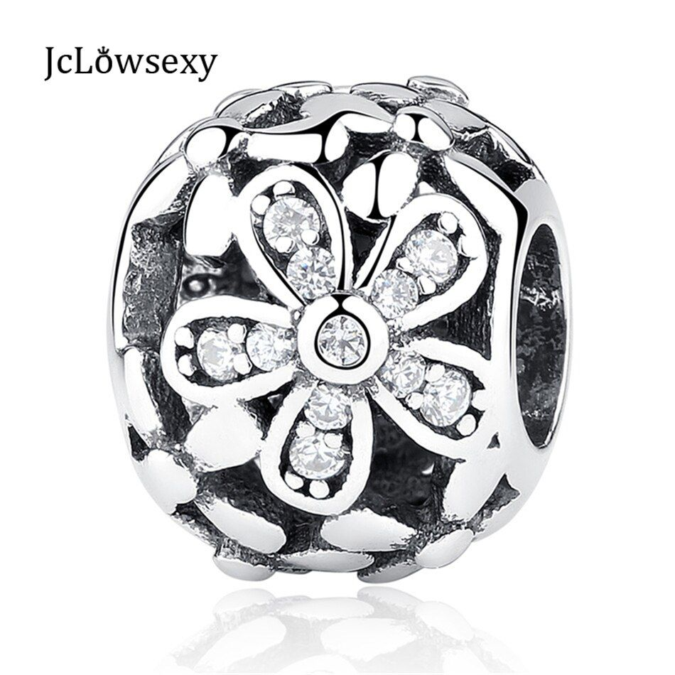 Jclowsexy   Authentic 100% 925 Sterling Silver Bead Charm Hollow Flower with Crystal Beads Fit   Bracelets & Bangles DIY Jewelry