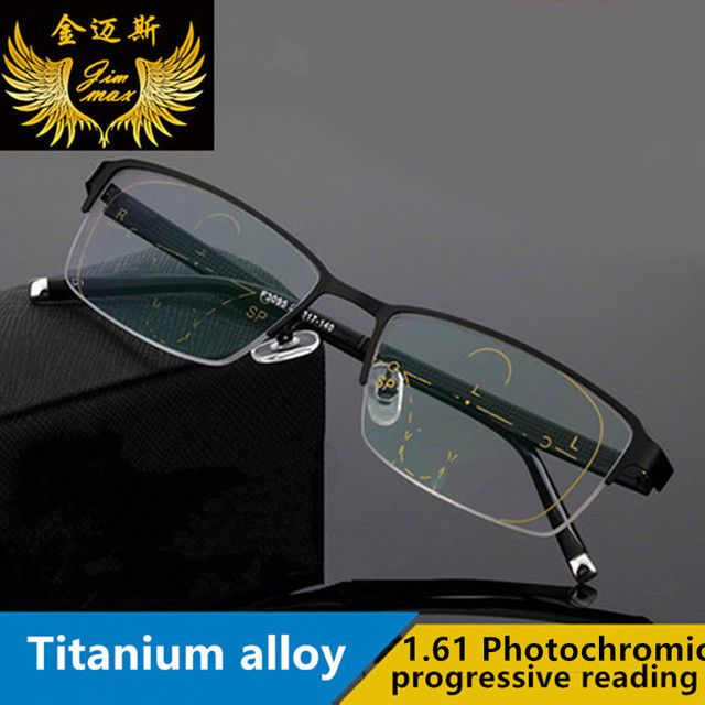2017 Fashion Quality Men Style Titanium Alloy With 1.61 Photochromic Progressive Glasses Half Rim Eyeglasses for men