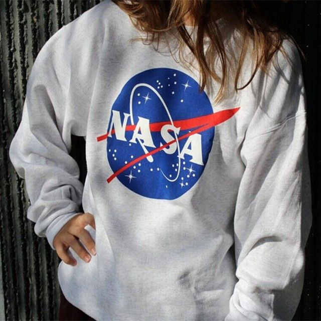 Autumn Winter Hoodies Warm Sweatshirt Women Plus Size NASA Printed Pullover Loose Jumper Baseball Casual Hoodies Tee Tops
