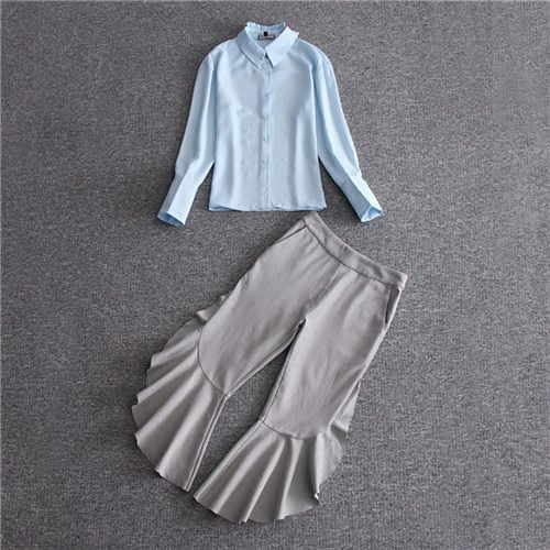 2017 Europe Runway Designer Clothing 2 Piece Set Women's Long Sleeve Solid Color Sky Blue Blouses +Grey Ruffle Pant Suit Elegant