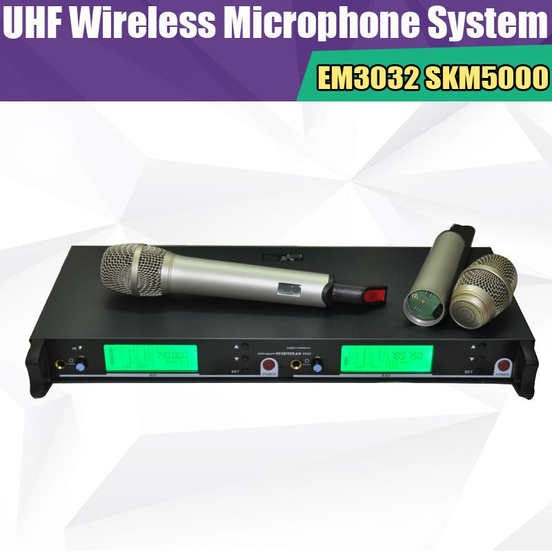 New EM3032 High Quality Wireless 2 handheld mic skm5200 skm5000 UHF/PLL  professiona Wireless Microphone system