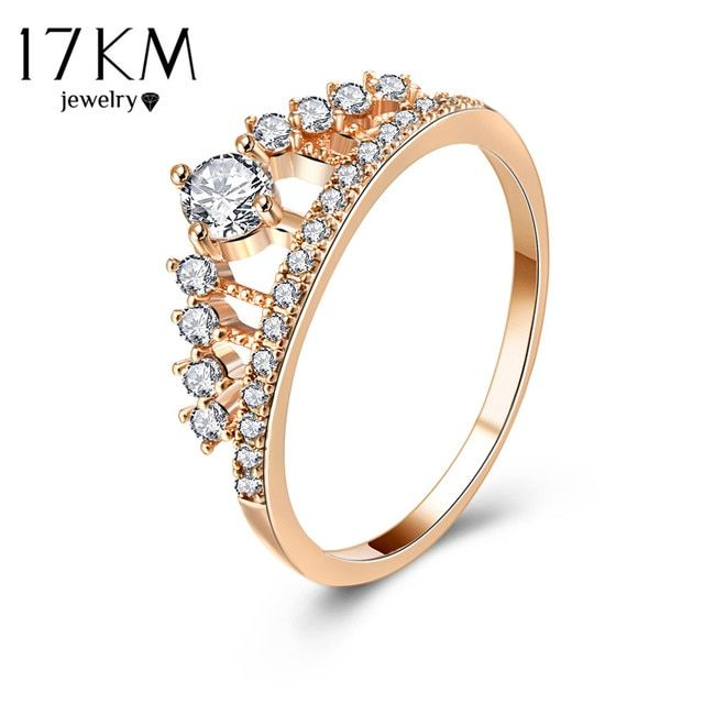 17KM Cubic Zirconia Crown Rings For Women Fashion Rose Gold Color Crystal Ring Female Party Wedding Engagement Bridal Jewelry