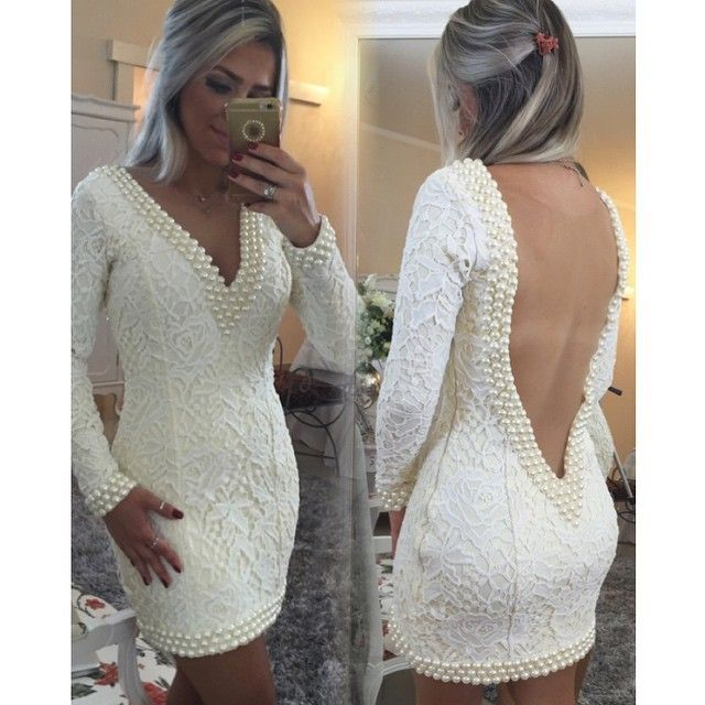 Sexy Short Lace Homecoming Dresses 2017 Long Sleeves Deep V Neck Open Back Pearls Fitted Prom Cocktail Dresses