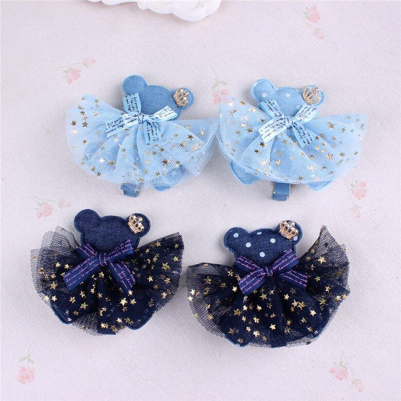 Europe and the United States hair ornaments cute bear hairpin children star network yarn side clip Meng head jewelry
