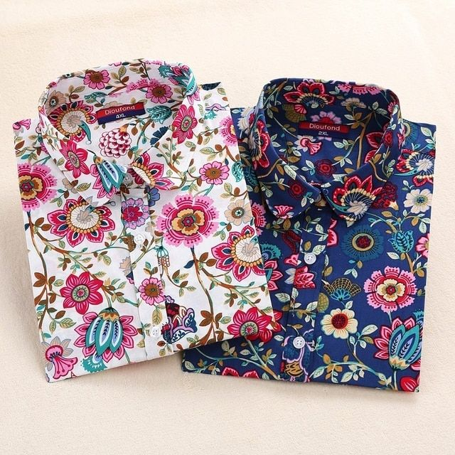 Harajuku Print Women Blouses Shirts Cotton Long Sleeve Ladies Tops Collar Floral Blusas Big Sizes Clothing Female Top Shirt 5XL