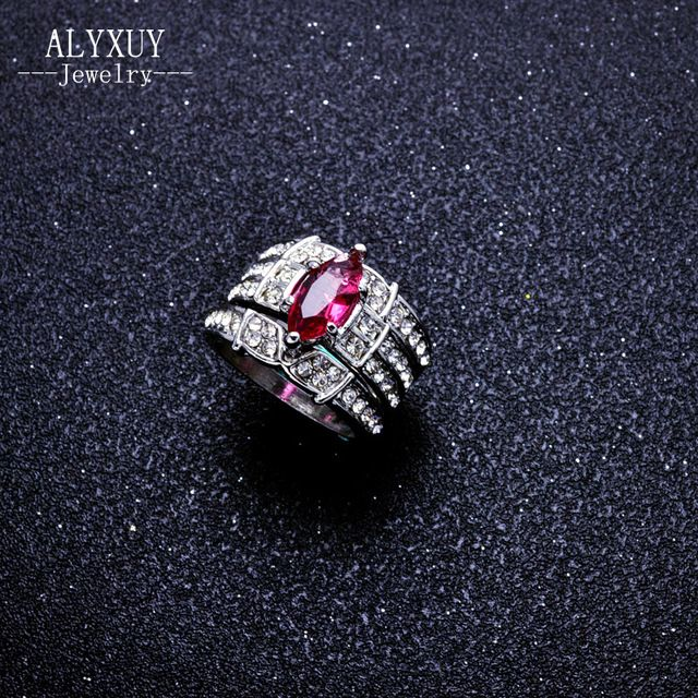 fashion wedding jewelry pink zircon finger ring set party gift for women girl R4083