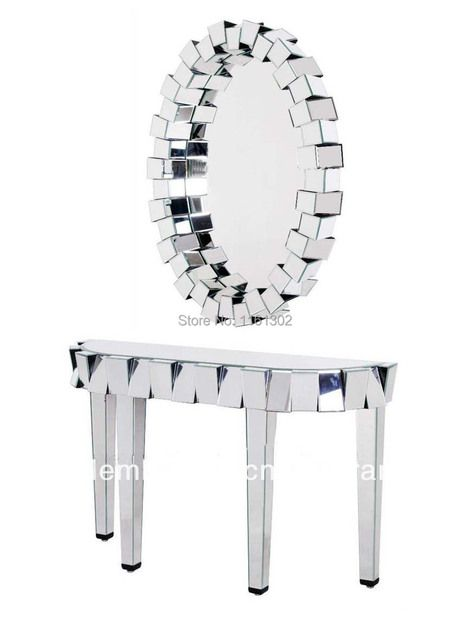 Beveled mirror furniture design console table with 3D oval mirror