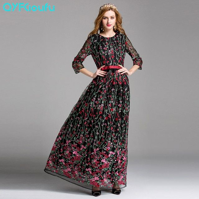 2017 Brand Designer Runway Women's Floral Tulle Embroidery Long Maxi Dress Black Pink Floor Length Beautiful Party Dresses