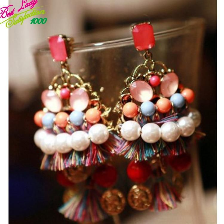 Best lady New Fashion Big Bohemia Simulated Pearl Layer Statement Brand Multi Color Dangle Drop Earrings Jewelry For Women 8033