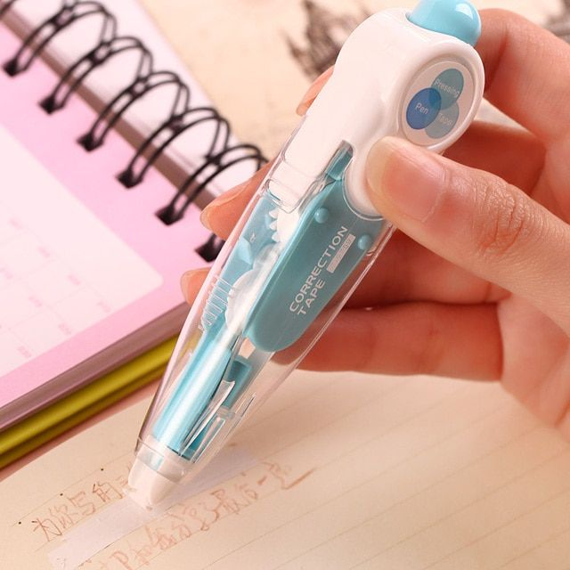 Kawaii Cute Correct Correction Tape Pens Blue Green Korea Kids School Office Supplies Korean Stationery Novelty For Student