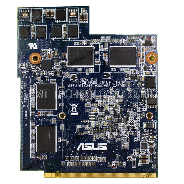 high quality G60J 51J Graphic card for ASUS notebook Geforce GTX 260 GT260m G92-751-B1 DDR3 1GB Video Card