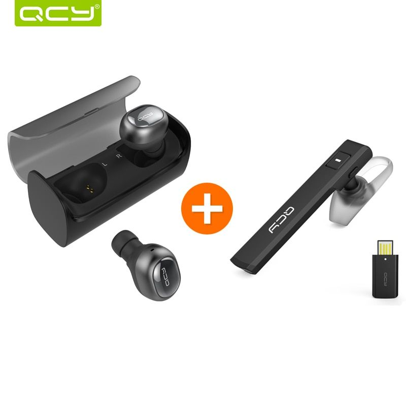 QCY Q29 3D stereo earphones mini wireless bluetooth 4.1 noise canceling earbud and J05