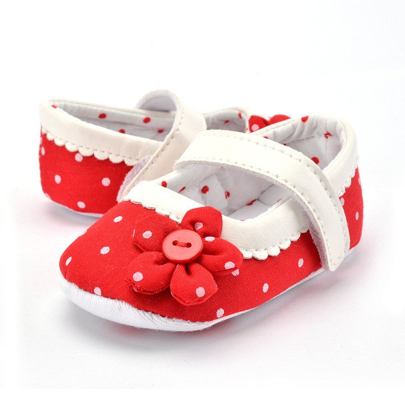 2016 Newborn Baby Girl Dots Flower Pink Red Cotton Shoes Infant Toddler Fashion Soft Sole Baby Shoes First Walker For Baby M54