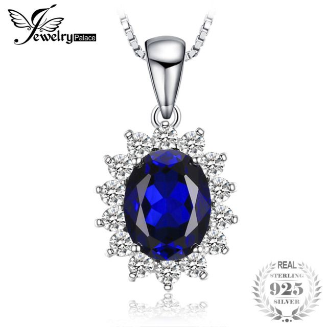 JewelryPalace Oval Princess Diana William Pendant Created Blue Sapphire Pendant 925 Sterling Silver Not Include A Chain Jewelry