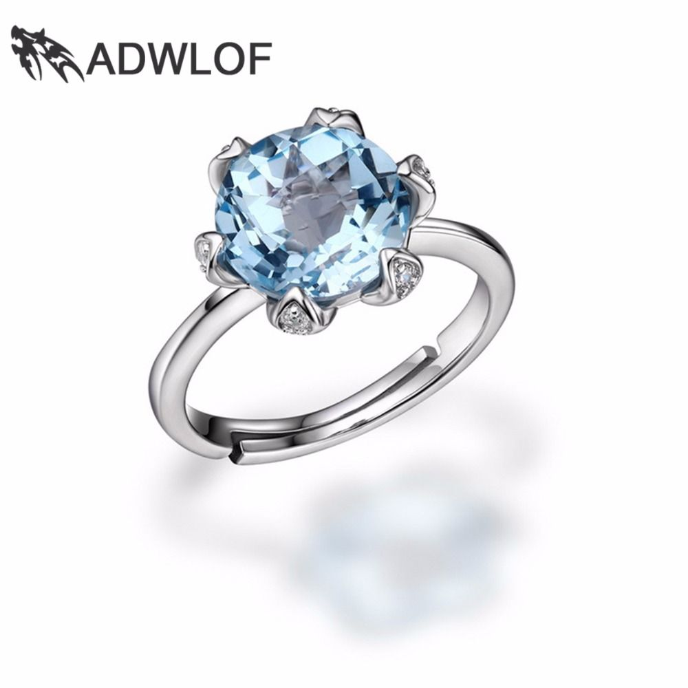 ADWLOF 3.40CT 6 Prong Setting Natural Rose Quartz Blue Topaz FOREVER Rings 925 Sterling Silver for Women Bridal Fine Jewelry