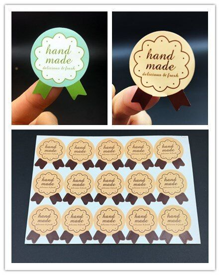 150pcs HandMade Medal Shape Seal Sticker baking package paper tags labels Pink Green Colour