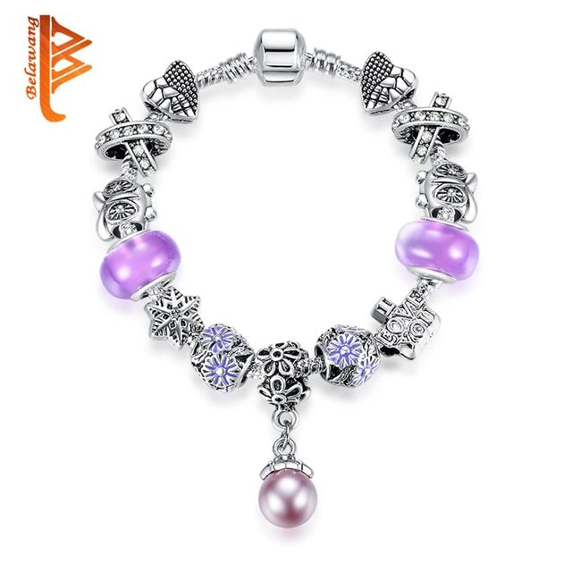 Authentic Tibetan Silver Color Purple Murano Glass Crystal Charm Bracelet for Women Original DIY Jewelry Beads Bracelet & Bangle