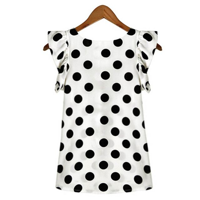 Fashion Girl Women Casual Chiffon Shirt Short Sleeve Shirt Summer Tops Black White Dots Blouse YRD