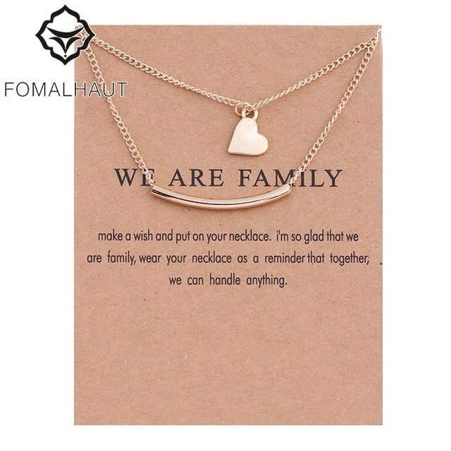 FOMALHAUT Good Karma Layered Strip Love Heart Pendant Necklace Clavicle Chains Statement Necklace for Women XD47