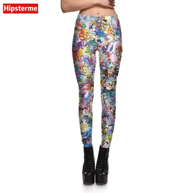 HIPSTERME New Fashion Women Sexy leggings Cute Pokemon Printed gothic leggins for Woman