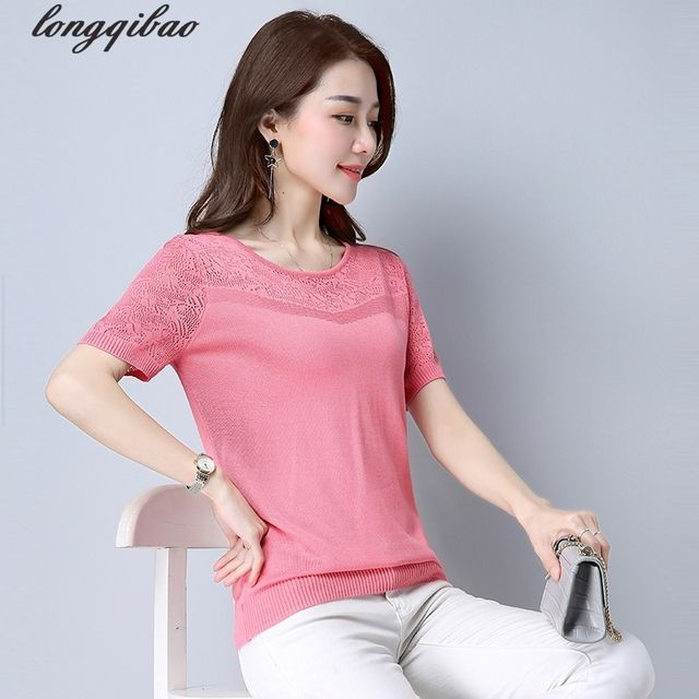 Middle-aged mother T-shirt  summer new openwork knit loose ice silk solid color T-shirt TB7485