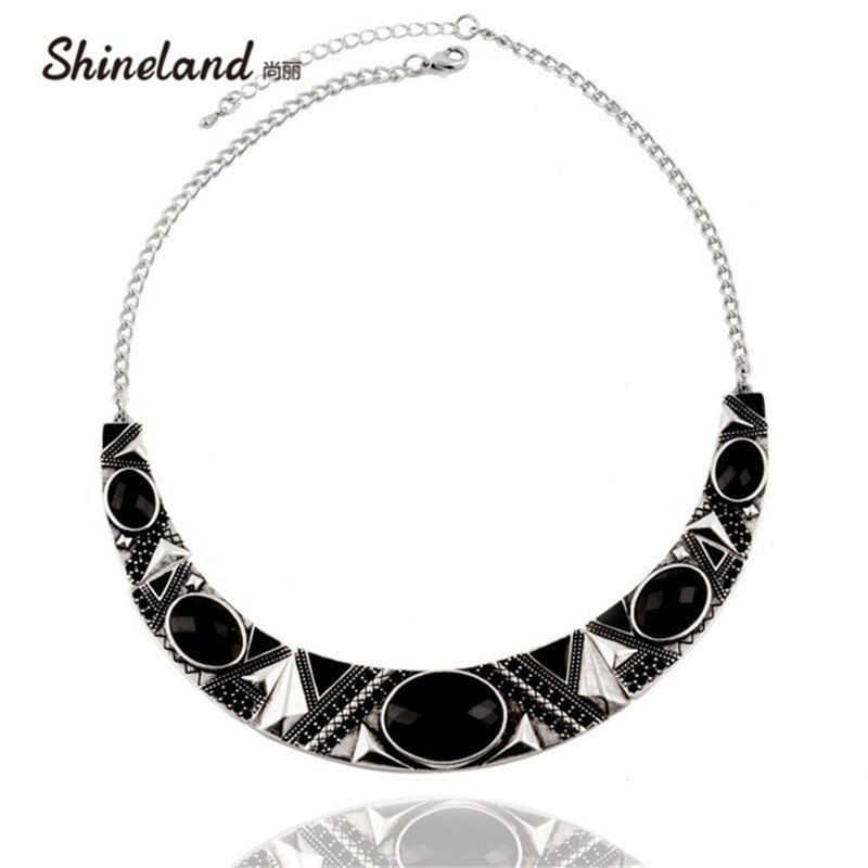 Statement Necklace 2019 New Vintage Jewelry Silver Color Alloy Black Resin Bead Choker Necklace Fashion Bijoux For Women