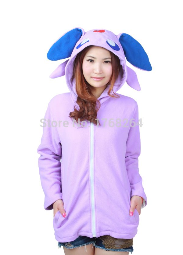 Purple Umbreon Adult Cosplay Hooded Fleece Anime Animal Unisex Adult Cosplay Hooded Hoodies Jacket with Ears Tails