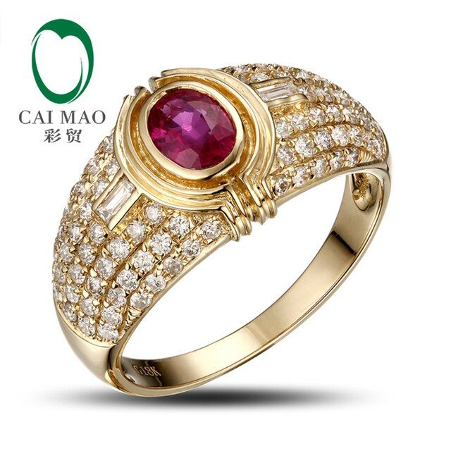 Unplated 14K Yellow Gold Red 1.01ct Ruby & Natural Diamond Engagement Ring Fine Jewelry Wholesale