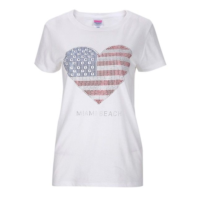 2016 Summer American StyleT-shirts Women Cotton Short Sleeve O-Neck Tees Tops USA Woman Casual Fitness Streetwear Clothes