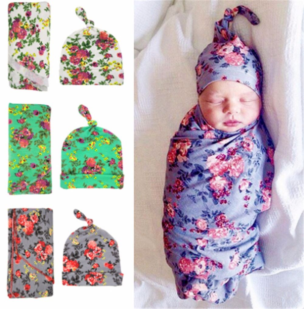 Newborn kids Swaddle Blanket and Hat Set Floral kids Blanket Kids Photography Props Muslin kids Swaddle Wrap and Cap Set