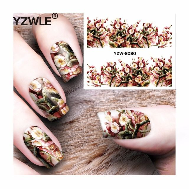 YZWLE 1 Sheet DIY Decals Nails Art Water Transfer Printing Stickers Accessories For Manicure Salon  YZW-8080