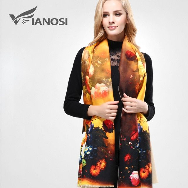 [VIANOSI] Top Quality Digital Printing Women Scarf Winter Thicken Warm Shawls and Scarves Wool Brand Scarf Woman Wrap VA064