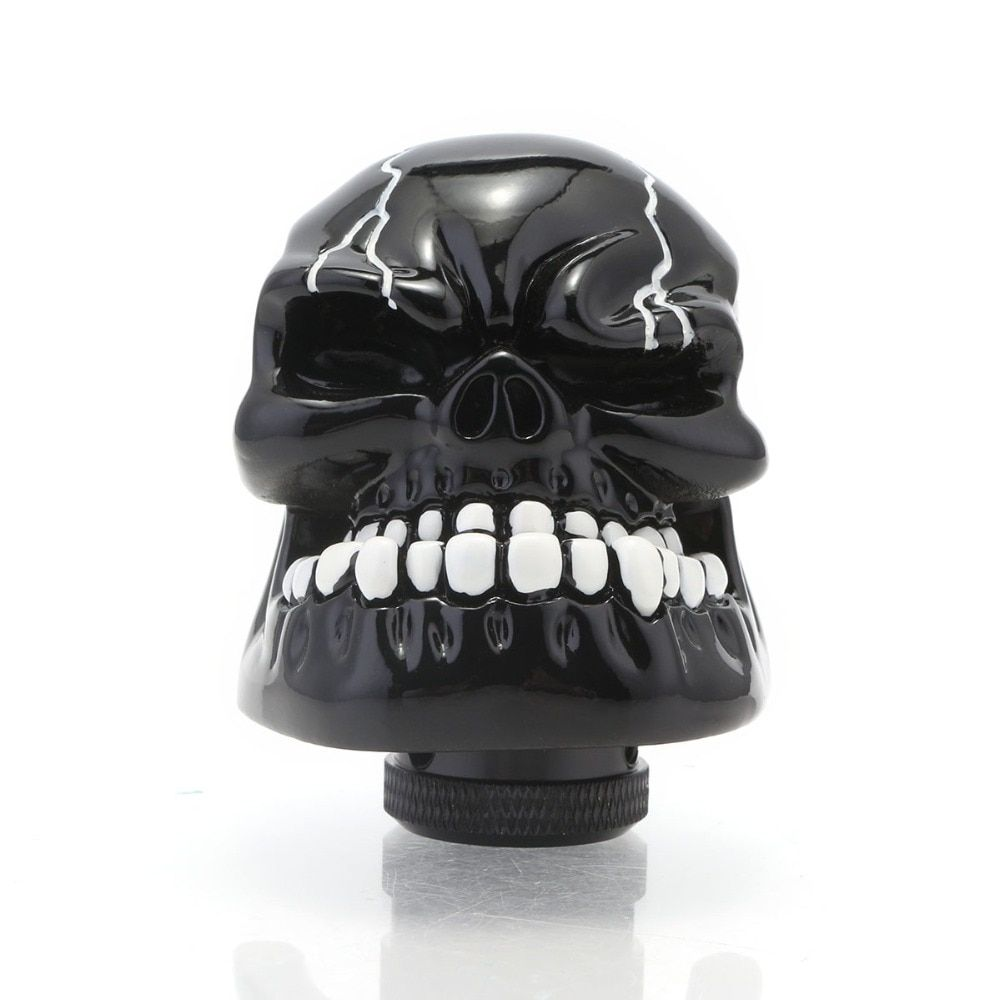 New Arrival Universal Manual Gear Stick Shifter Lever Knob Wicked Carved Black Skull Gear Shift Knob for Auto Car Free Shipping