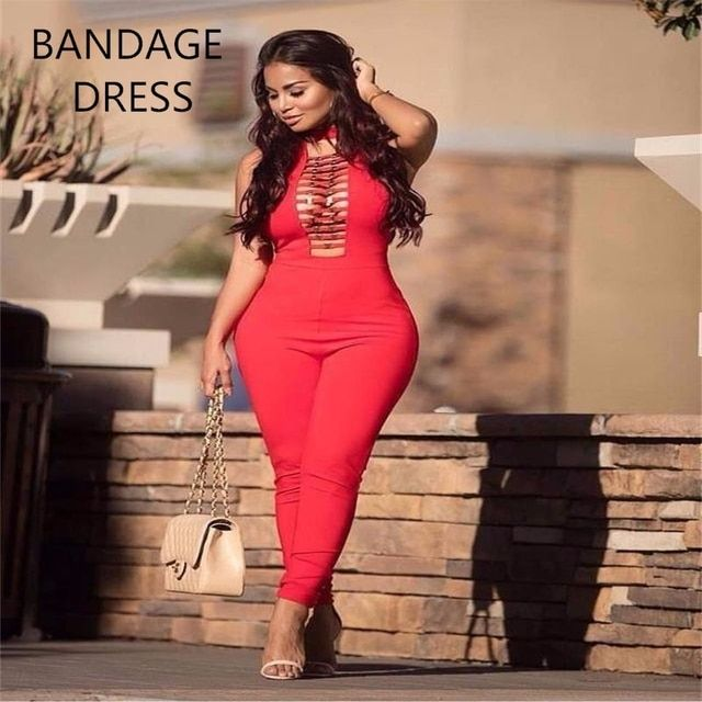 2017 New Hollow Out Open Chest Sleeveless Stylish Bodycon Rayon Bandage Jumpsuits Black Red Skinny Sexy Jumpsuit HL J477