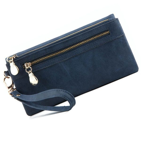 FGGS-Fashion Women Wallets Dull Polish Leather Wallet Double Zipper Day Clutch Purse Wristlet Coin Purse Card Holder