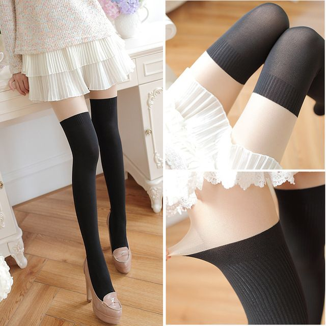 2017 spring women's tights high quality casual jacquard knit stitching velvet pantyhose for women 70 Denier