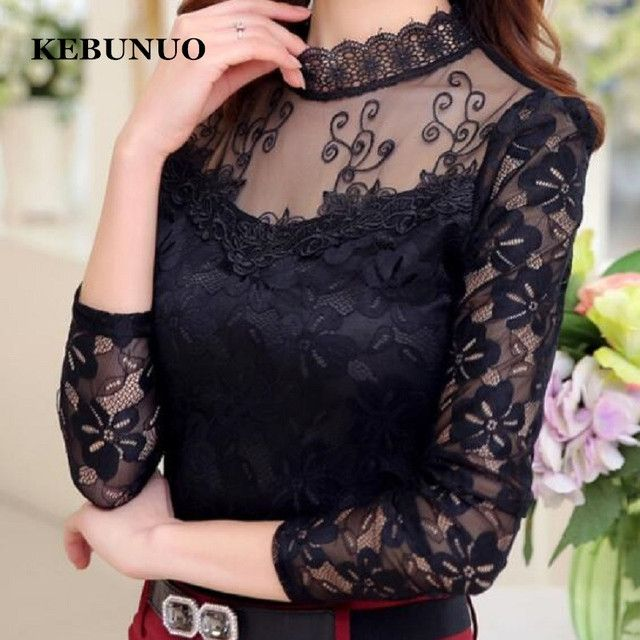 Plus Size Autumn Winter Women's Sexy Lace Chiffon Blouses Shirts Ladies Long Sleeve White Black Blusas Tops Femme 2016 New