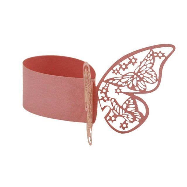 50pcs Butterfly Style Laser Cut Paper Napkin Ring Wedding Table Decoration