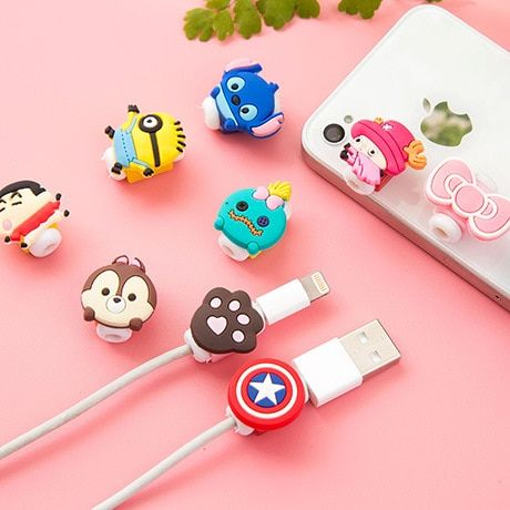 5pcs/lot superman,batman Cartoon USB Cable Earphone Protector headphones line saver For USB charging line data cable protection