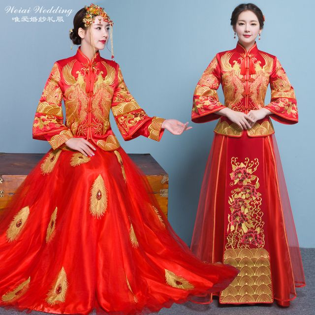 Rommantic Bride Garments show evening dress chinese style formal red dragon gown Robe kimono la robe de mariage de style chinois